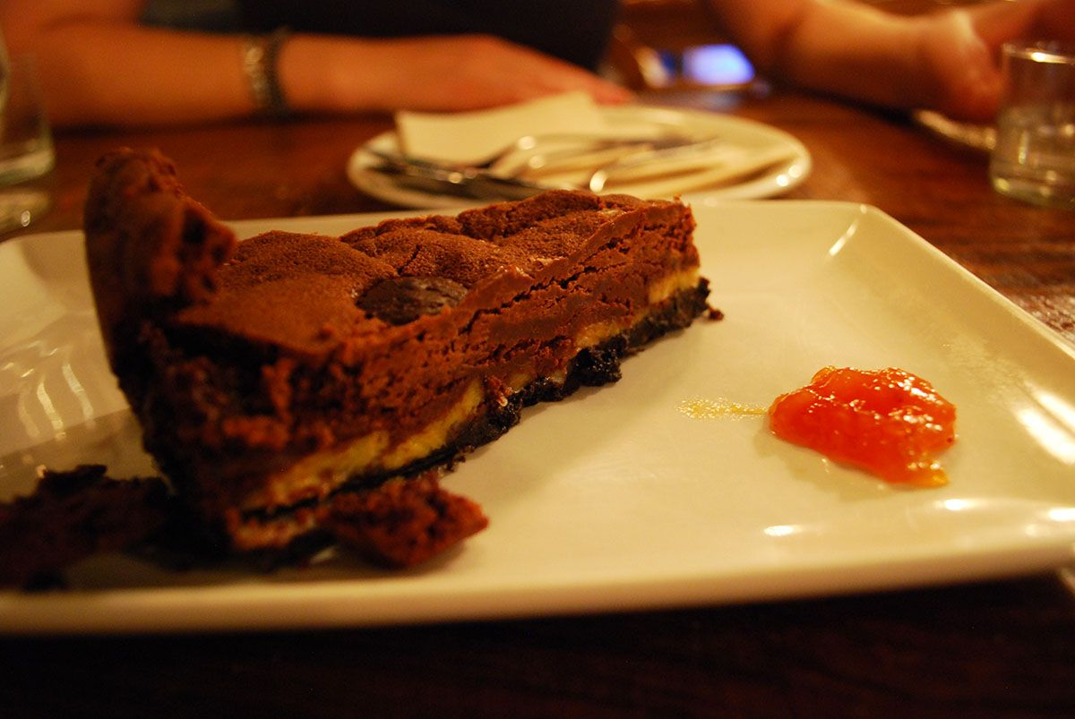 Tarta de chocolate con base de platano_Malasaña a mordiscos_La Pescadería