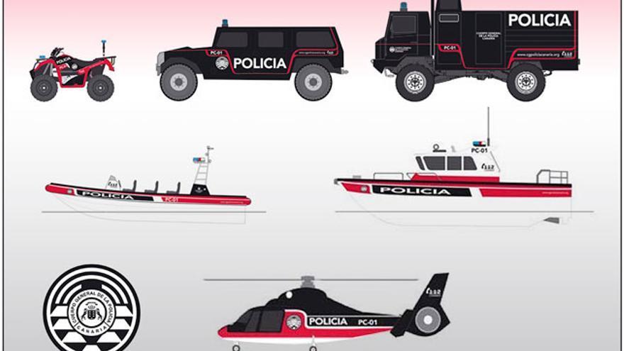 Diseños de medios de la Policía Canaria que no han visto la luz