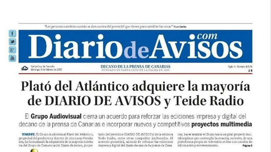 Portada de 'Diario de Avisos' este domingo, 8 de febrero.