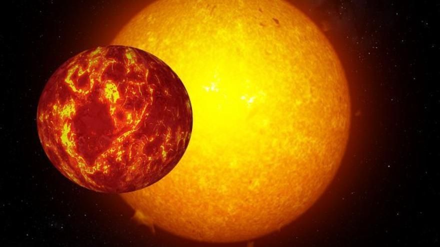 Simulación del planeta K2-106b orbitando alrededor de su estrella. Crédito: Gabriel Pérez (IAC)