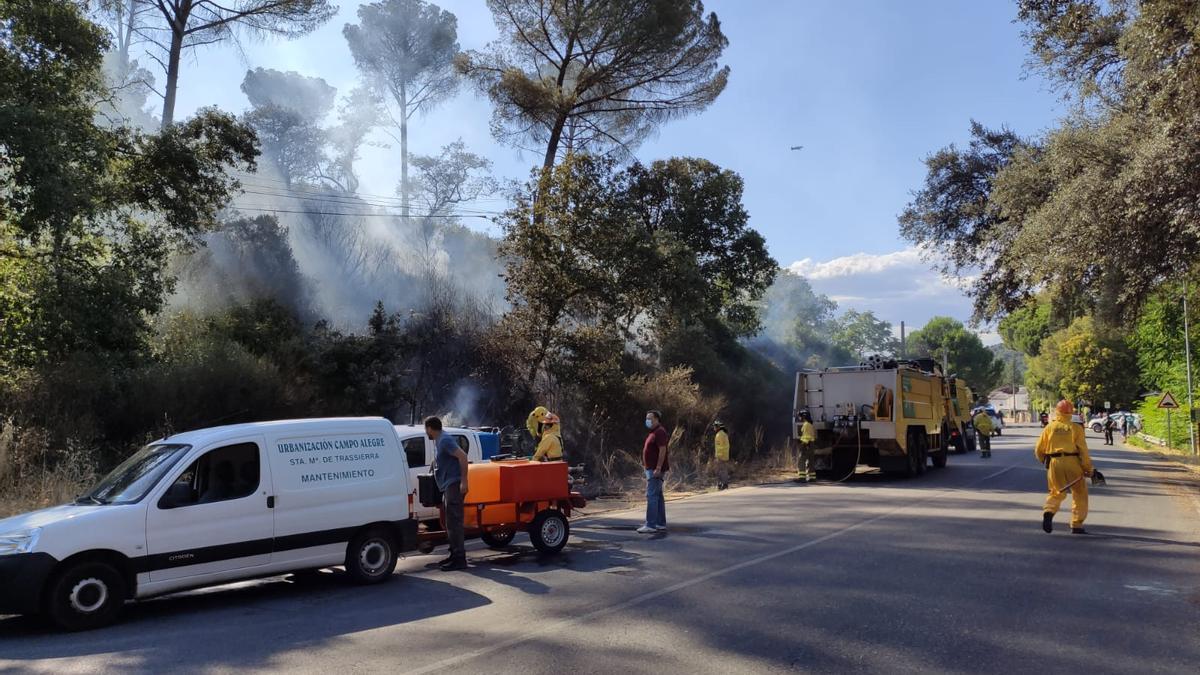 Varios voluntarios y agentes del Infoca trabajando en la zona del incendio