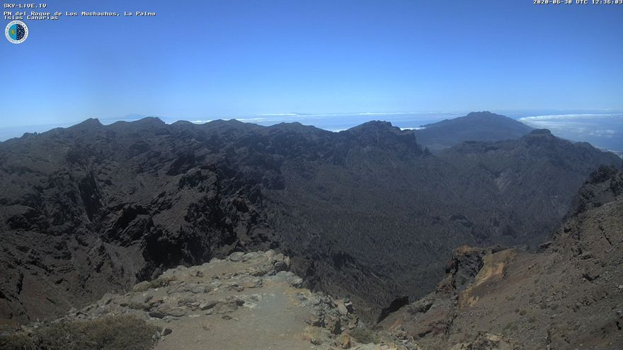 Imagen de  este miércoles de las cumbres de La Palma captada de la webcam de Sky Live TV del IAC en el Roque de Los Muchachos (Garafía).
