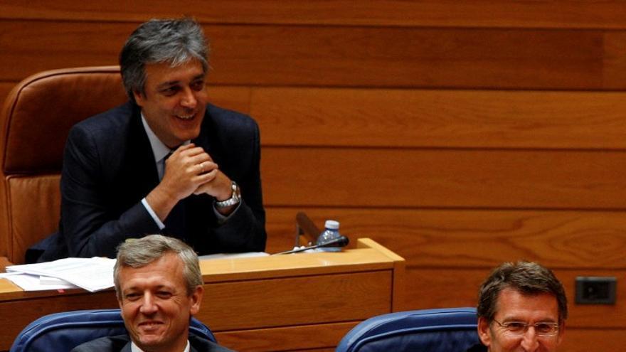Feijóo y su vicepresidente, durante el debate de 2014