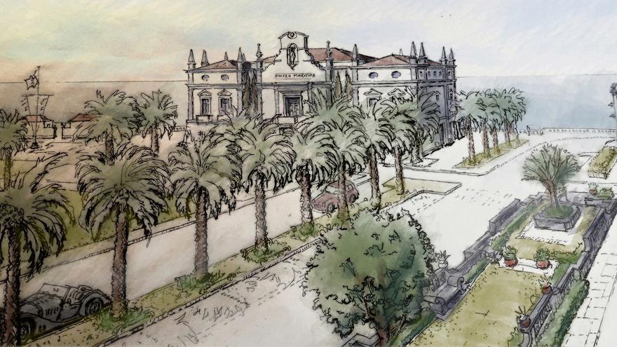 Dibujo de la propuesta 'Nuevo Bulevar y Museo', obra del estudio de arquitectura neoyorquino Fairfax & Sammons.