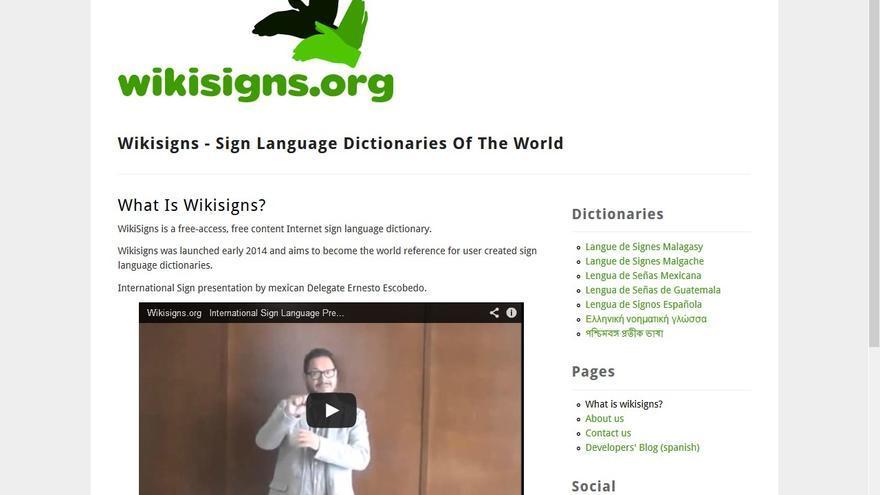 Captura de pantalla de la web 'Wikisigns'.
