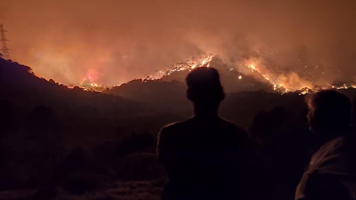 El paraje natural de Sierra Bermeja, ardiendo de madrugada
