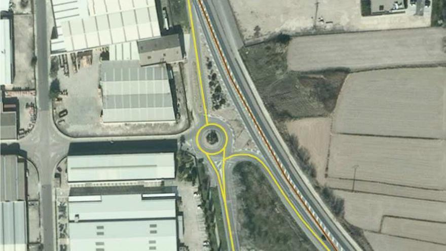 La nueva rotonda de San Adrián permitirá conectar la carretera NA-134, el polígono y el casco urbano de la localidad.