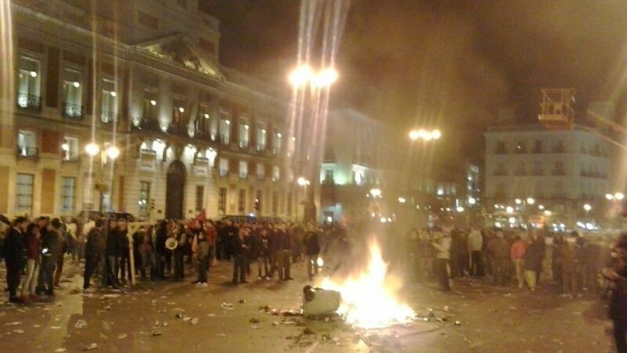 La protesta de los trabajadores de los servicios de limpieza y jardinería ha concluido en la Puerta del Sol / Marilín Gonzalo