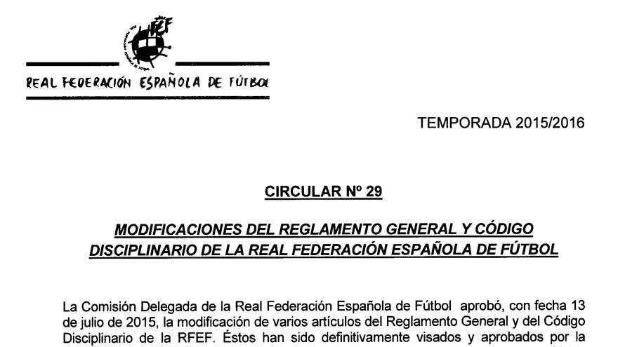 Circular aprobada por la Federación Española de Fútbol en enero de 2016.