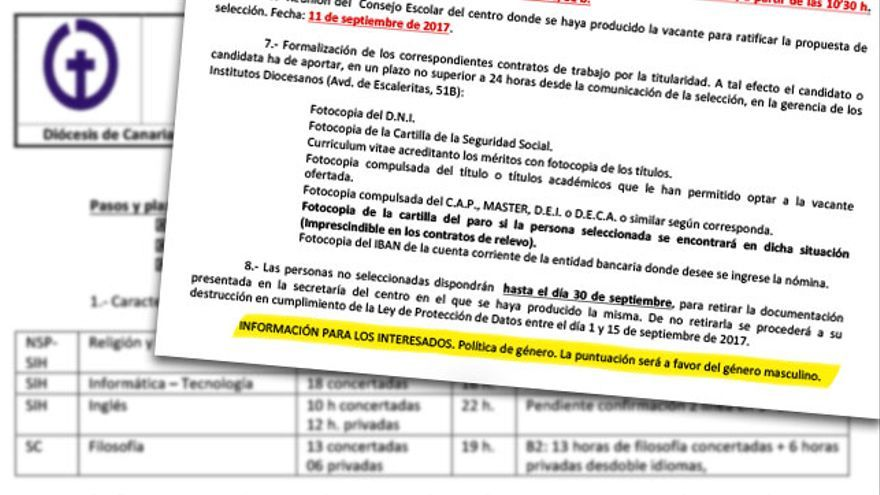 Oferta de Empleo de la Diócesis de Canarias