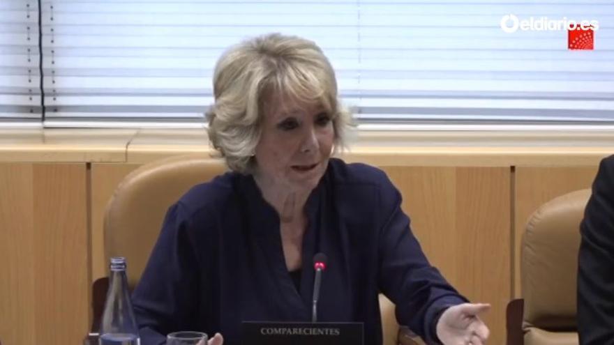 Esperanza Aguirre, en la comisión de investigación de la Asamblea de Madrid