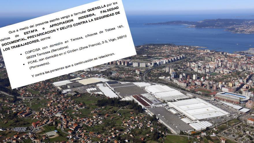 Vista aérea de la fábrica de Peugeot-Citroën en Vigo y fragmento de la querella