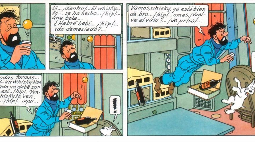 Hergé se documentó con científicos para reflejar los efectos de la gravedad en el espacio exterior (Imagen: © Moulinsart 2017 y Editorial Juventud)