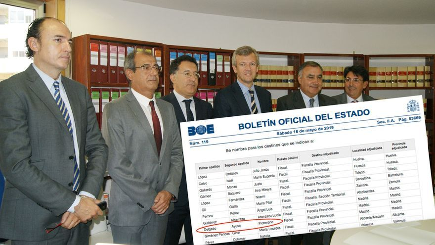 Florentino Delgado, fiscal jefe de Ourense, primero por la izquierda, y BOE con su nombramiento para la fiscalía provincial de Madrid
