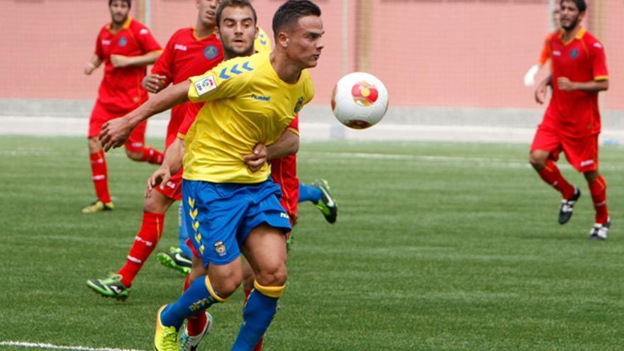 Roque marcó el gol de Las Palmas Atlético ante el Puerta Bonita. udlaspalmas.es
