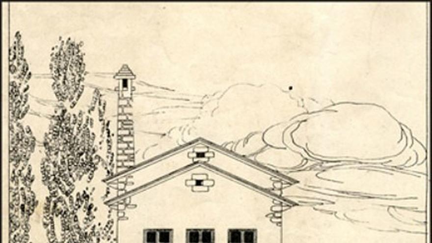 Boceto del proyecto diseñado en 1912, cuya construcción se terminó en 1914.