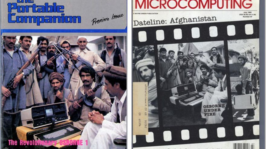 Portadas de las revistas 'The portable companion' y 'Microcomputing' en 1982