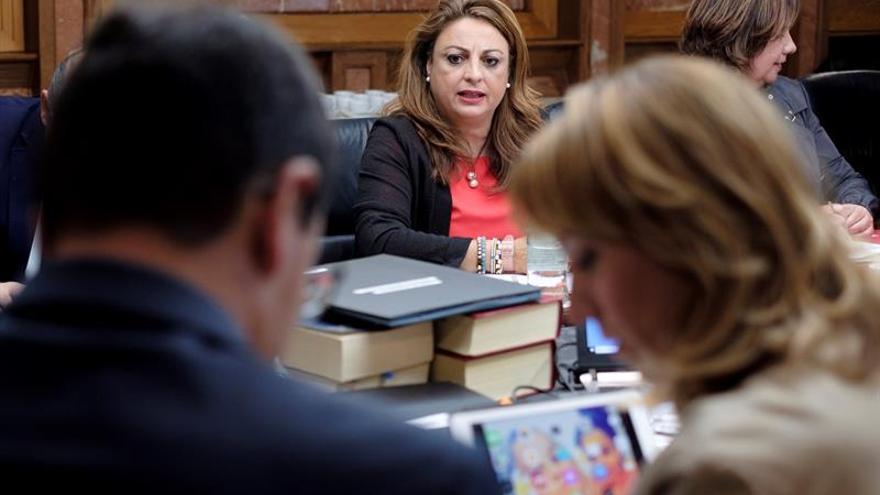 La consejera Empleo, Vivienda y Políticas Sociales del ejecutivo regional, Cristina Valido en el Consejo de Gobierno.