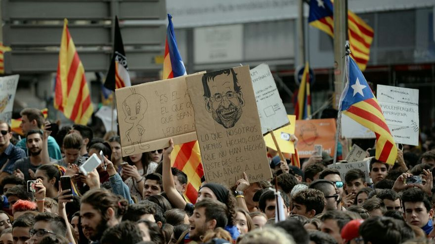 La manifestación de estudiantes en las calles de Barcelona