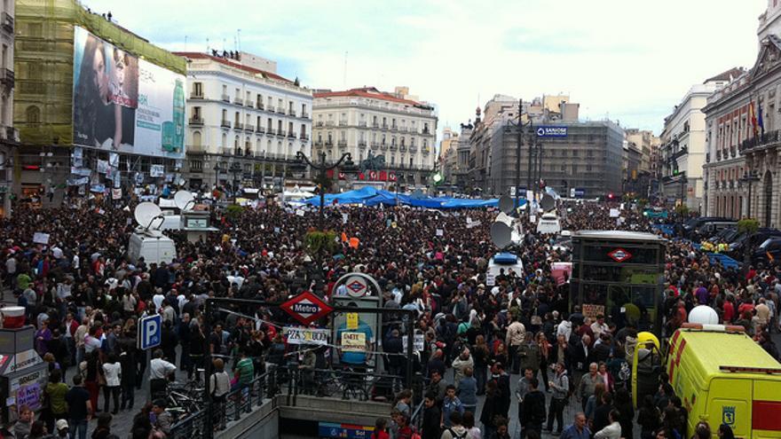 La Puerta del Sol de Madrid durante el 15-M. Foto: Xuanxu / Flickr