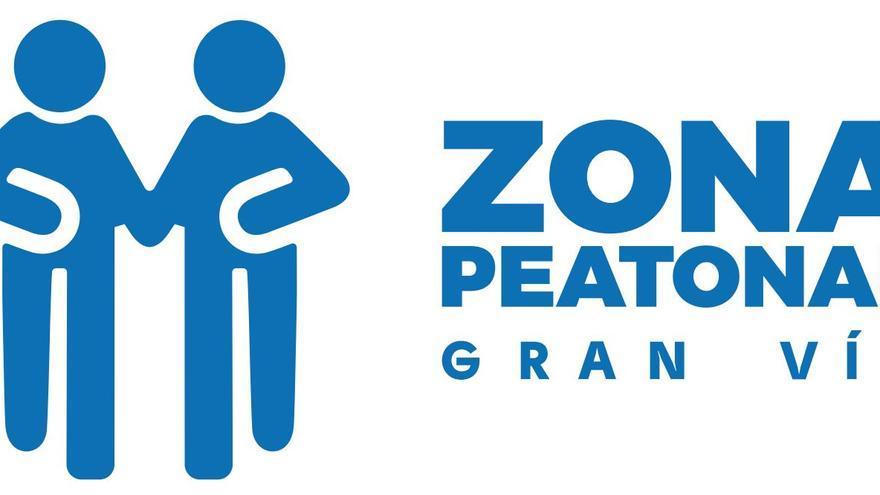 Señalización de la zona peatonal de Gran Vía