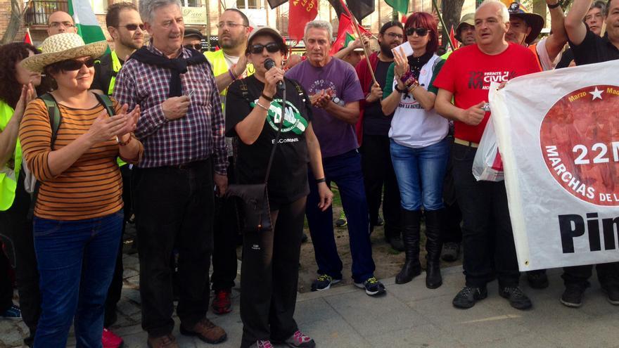 Integrantes de la columna procedente del sur, Diego Cañamero entre ellos, antes de salir de Pinto / Foto: Olga Rodríguez