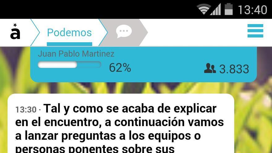 Imagen de la aplicación AppGree en la Asamblea de Podemos
