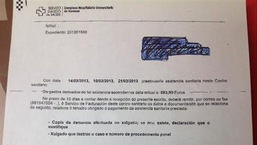 Factura emitida por el Hospital de Ourense a Vera, una ciudadana rusa que denunció una agresión sexual. \ Facilitada por la Fundación Aspacia
