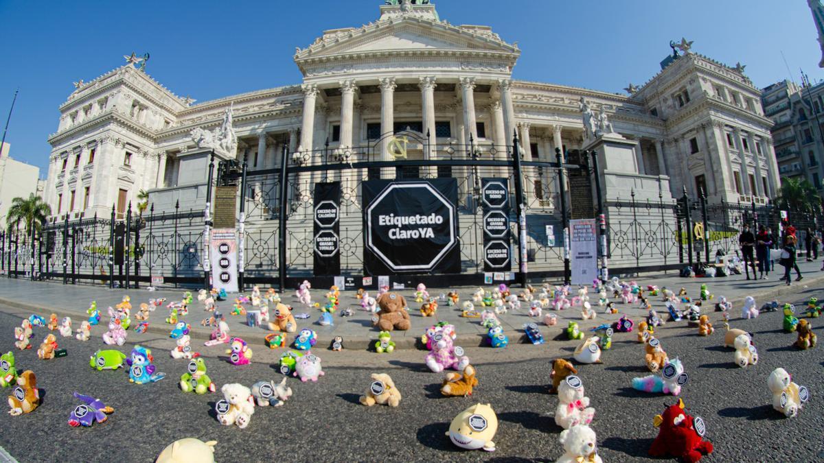 Acción de Fundeps, SANAR y Consciente Colectivo frente al Congreso, en apoyo de la ley de etiquetado