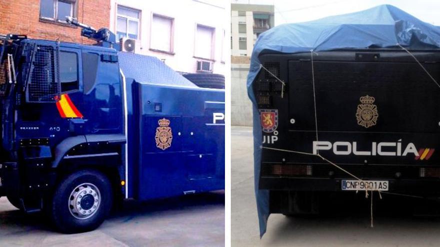 Fotografías del camión 'lanza-agua' difundidas por la CEP