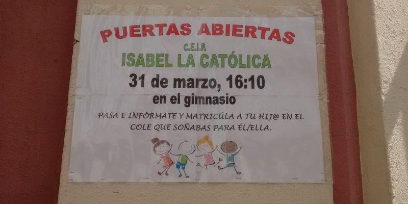 Cartel de día de puertas abiertas en el Isabel la Católica | SOMOS MALASAÑA