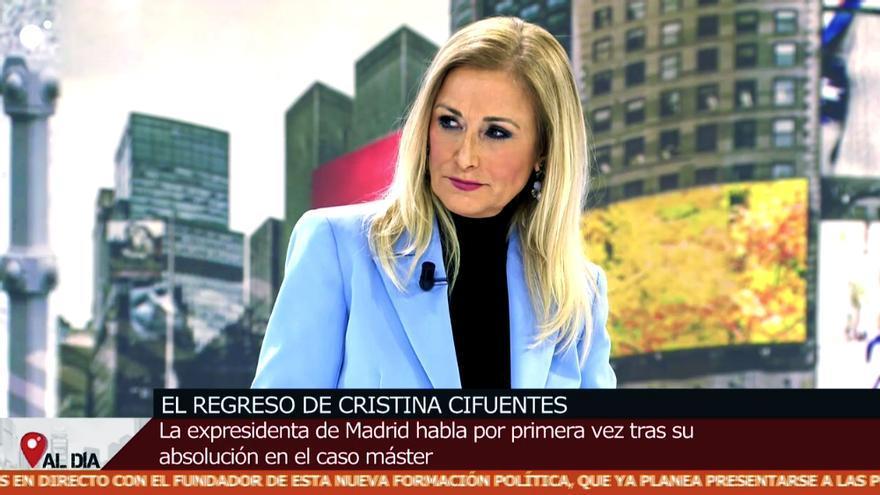 Cristina Cifuentes en su regreso a 'Cuatro al día'