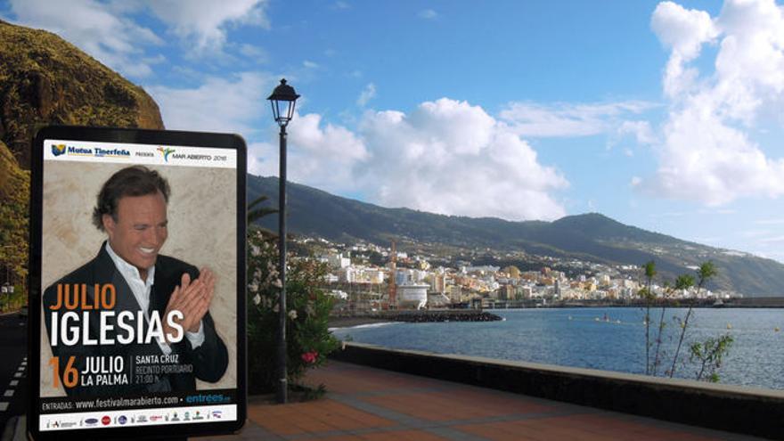 En la imagen, un cartel del concierto de Julio Iglesias en La Palma.