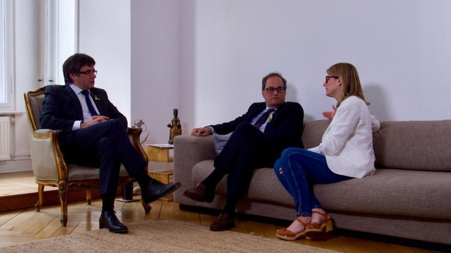 Puigdemont, Torra y Artadi en la reunión en la que ha sido propuesto como candidato