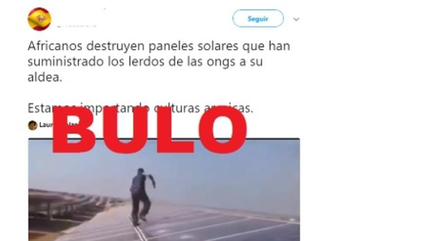 """El vídeo falso de """"africanos"""" que rompen paneles solares que les han dado ONGs"""