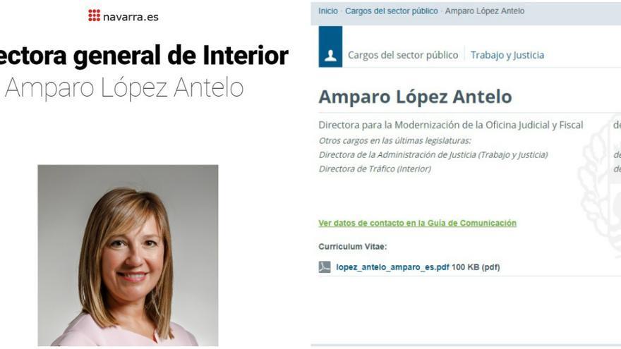 Ficha de Amparo López en los Gobiernos de Navarra y vasco