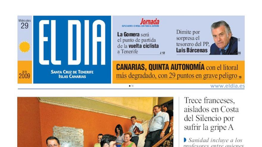 Portada de 'El Día' del 29 de julio de 2009.