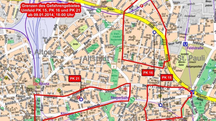 Zonas de peligro decretadas por la policía de Hamburgo el jueves por la tarde