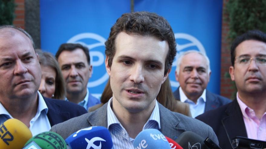 """Pablo Casado dice que mientras gobierne el PP """"no se va a ceder a ningún pulso"""""""