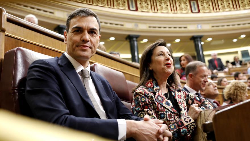 El secretario general del PSOE, Pedro Sánchez, en el Congreso de los Diputados para el debate de la moción de censura.