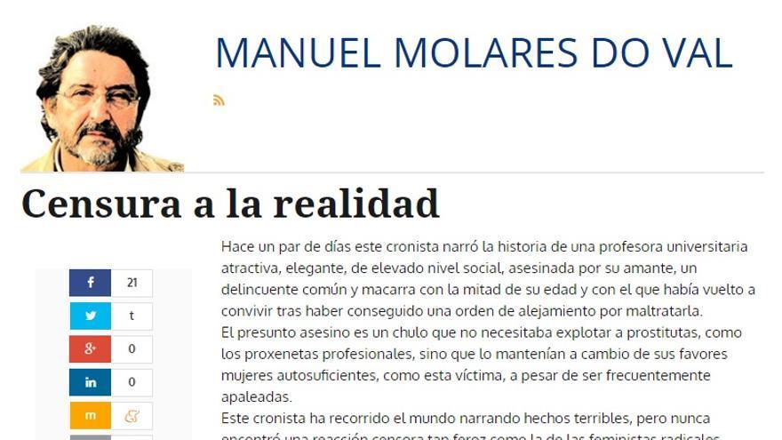 """Columna de Manuel Molares Do Val en la que critica la censura de las """"feministas radicales"""""""