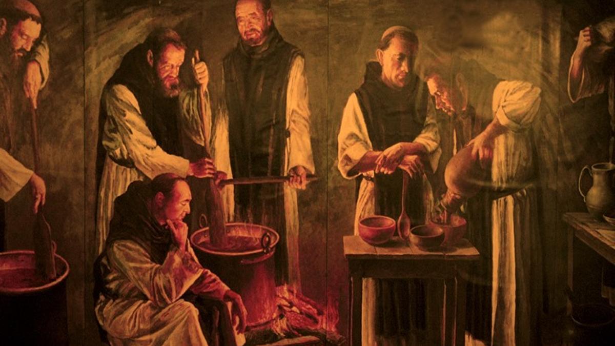 Monjes haciendo chocolate en el Monasterio de Piedra