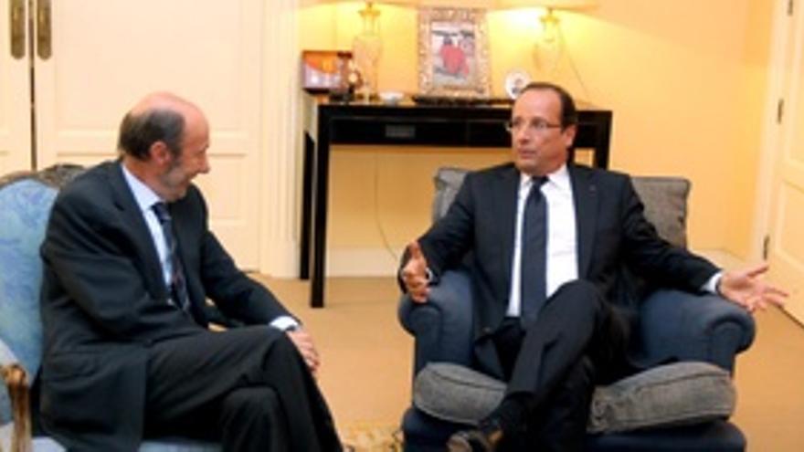 Rubalcaba Con Hollande En Madrid. 30 Agosto 2012.