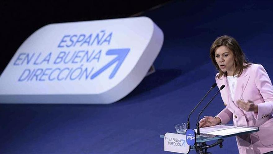 """Cospedal advierte de que en la defensa de los intereses de España es """"el PP o la nada"""""""