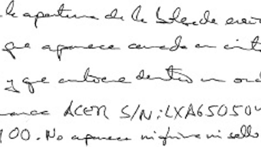 Acta en relación a la custodia del ordenador de Aintzane de Miguel