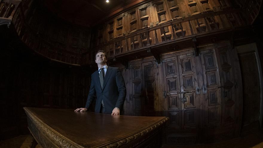 El presidente del Partido Popular, Pablo Casado, este jueves.