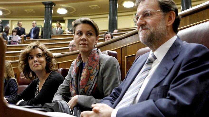 Cospedal, Sáez de Santamaría y Rajoy en una foto de archivo en el Congreso