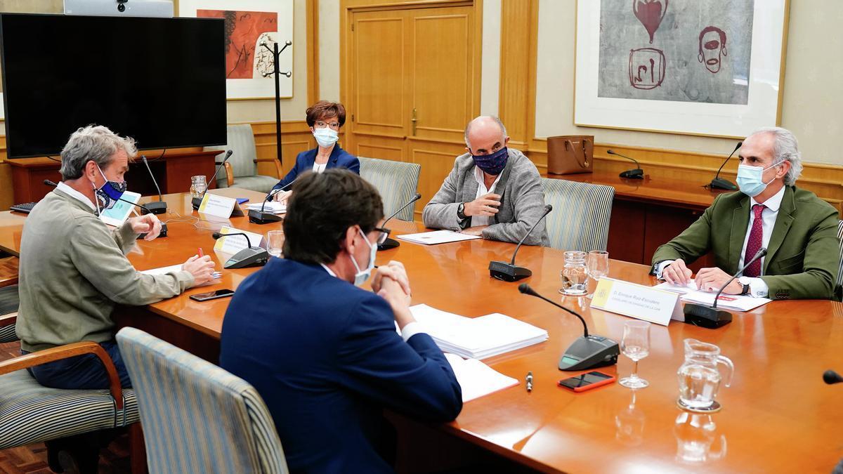 El ministro de Sanidad, Salvador Illa, Fernando Simón, el consejero de Sanidad, Enrique Ruiz Escudero, el viceconsejero de Salud Pública, Antonio Zapatero, y la directora general de Salud Pública, Elena Andradas