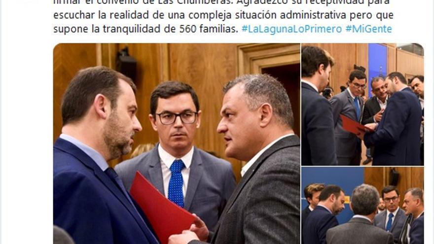 Publicación en Twitter de José Alberto Díaz este sábado tras la firma del Convenio de Carreteras.