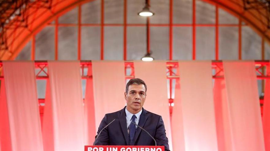Pedro Sánchez en el acto de presentación del documento para un programa común progresista.